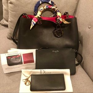 Dior Navy Diorissimo with removable pouch & wallet